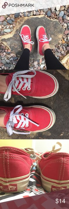 Red Vans! obviously pre-loved, but still lots of life left :) these Vans could use a new pair of laces (the plastic parts of one of the shoe laces ripped off), and a good scrub. I like to clean vans with toothpaste and a toothbrush so they look new! originally purchased for $50 from Vans. women's 6.5 or mens 5. Vans Shoes Sneakers