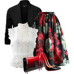Untitled #6045 by barbarapoole on Polyvore featuring polyvore, fashion, style, Oscar de la Renta, Christian Louboutin, 1st & Gorgeous by Carolee and clothing
