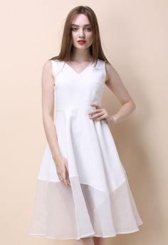 Dulcet Melody Flare Dress in White - Retro, Indie and Unique Fashion