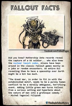 fallout aliens started the war Fallout Tips, Fallout Lore, Fallout Facts, Fallout Funny, Fallout Cosplay, Bethesda Games, Fallout New Vegas, Post Apocalypse, Bioshock