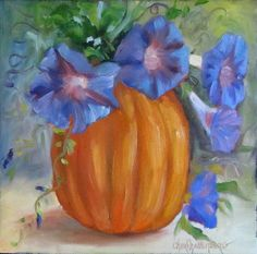 Canvas Still LIfe of Pumpkin and Morning Glories by ChatterBoxArt, $65.00
