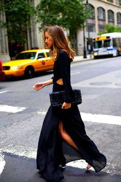 long flowy black dress