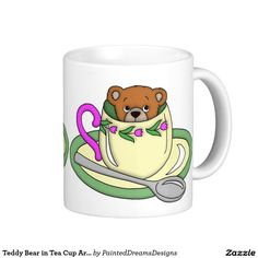 Teddy Bear in Tea Cup Art Graphic