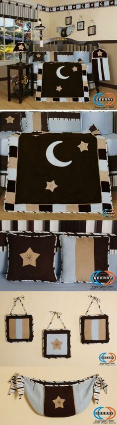 GEENNY Designs Brown Blue Star  Moon 13-PCS CRIB BEDDING SET New Born, Baby, Child, Kid, Infant, This listing is for a 13 pcs beautiful GEENNY brand new Crib set with all the bundle you will need. This set is made to fit all standard cribs and toddler beds. The whole set comes with 10-pcs set plu..., #Baby, #Accessories