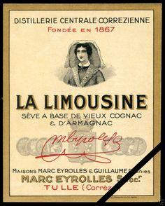French Vintage Alcohol Liquor Wine Label Original Cognac La Limousine France | eBay