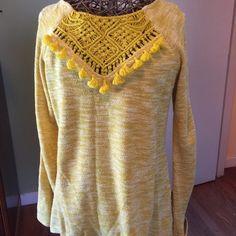 Brand new Yellow sweater! Longer length! Super adorable excellent condition Sweaters Crew & Scoop Necks
