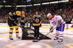 Sandy Hook Elementary School teacher Natalie Hammond does the ceremonial puck drop before the March 3rd, 2013 MTL @ BOS game.