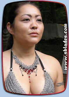 Chainmail & More Ice-Flame dancer necklace, Beaded chain-mail jewelry in a unique and cleavage enhancing design. Chain Mail, Belly Dancers, Gothic Outfits, Blue Tones, Necklace Lengths, Ice, Jewels, Beads, Unique