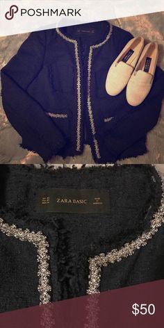 Zara blazer Navy and silver. So pretty Zara Jackets & Coats Blazers
