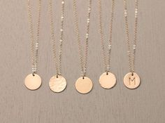 $27.00 Blank or Personalized Gold Circle Necklace - Simple, Modern, Everyday…