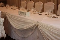 Wedding Head Table Decor Idea - Love the lace and pearls by miyoko.williams3
