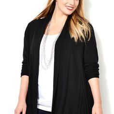 Pointelle Back Pleat Cardigan-Plus Size Cardigan-Avenue