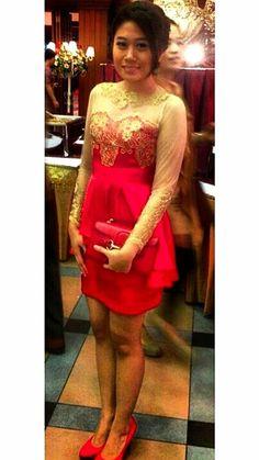 Red dress kebaya  by dieva_ipeh from ig