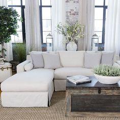 Living Room Details: DIY Cabinet, Tree stump table and Sofa Slipcovers | Jenna Sue Design Blog