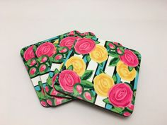 Lilly Pulitzer Inspired Coaster Set by TheInspiredStudio on Etsy https://www.etsy.com/listing/280848068/lilly-pulitzer-inspired-coaster-set