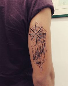 Tattoos Discover 35 Trendy Meaningful Compass Tattoo Designs For Tattoo Lovers – 2019 Viking Compass Tattoo, Compass Tattoo Design, Wolf Tattoo Design, Tattoo Sleeve Designs, Tattoo Designs Men, Sleeve Tattoos, Tricep Tattoos, Cool Forearm Tattoos, Wolf Tattoos Men