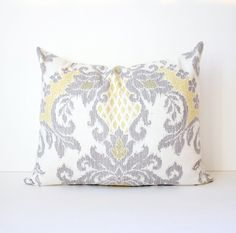 Yellow & Grey Ikat Decorative Designer Pillow by WhitlockandCo, $40.00