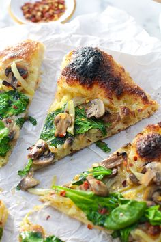 Garlic & Fennel Mushroom Pizza has earthy yet bright & balanced ingredients with flavorful, aged dough & a deeply charred crust for pizzeria style pizza at home.