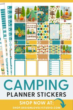 Summer Planner, Happy Planner, Weekly Planner, Planner Decorating, Printable Planner Stickers, Erin Condren Life Planner, Sticker Shop, Campers, Pdf