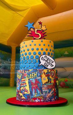 Cake Wrecks - Home Avengers Birthday, Superhero Birthday Party, 5th Birthday, Flash Birthday Cake, Birthday Cakes, Happy Birthday, Pastel Marvel, Bolo Flash, Flash Cake