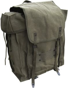 """Italian Military Backpack - 16"""" x 10"""" x 5"""" (main compartment - not including side pockets) - $39.95"""