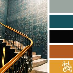 Art deco color scheme (teal and bronze) | 25 color palettes inspired by the PANTONE color trend predictions for Fall/Winter 2018 - Find more color palettes, mood boards and schemes at www.sarahrenaeclark.com #color #colorpalette #colorscheme