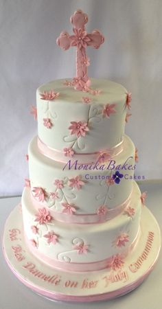 3D Cakes for Girls | _communion cake for girls, 3-tier pink and white communion cake ...