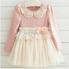 Fall Children Dress Korean Pearl Pure Cotton Net Yarn Girls Lace Dress 3-7Year Kids Clothing