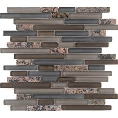 EPOCH Architectural Surfaces Spectrum Mixed Brown Mixed Material Mosaic Indoor/Outdoor Wall Tile (Common: 12-in x 14-in; Actual: 11.81-in x 11.93-in)