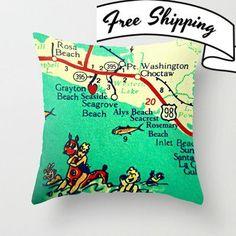Seaside 30A Map Pillow | Seagrove Grayton Rosemary Beach House | 30A gift