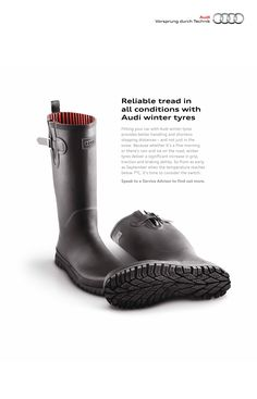 Reliable tread in all conditions with Audi winter tyres. Job Advertisement, Brand Advertising, Advertising And Promotion, Creative Advertising, Advertising Ideas, Advertising Campaign, Volkswagen, Audi, Identity
