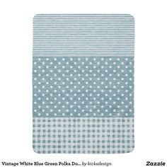 Vintage White Blue Green Polka Dots Stripes Swaddle Blankets