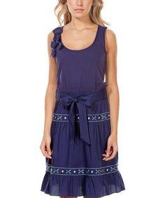 Navy Blue River Sleeveless Dress  Rosalita McGee