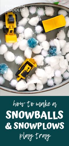 How to Make a Playtray of Snowballs and Snowplows for Toddlers Try this fun play tray to keep your toddler or preschooler entertained today. Great to play with indoors or on a rainy day! Sensory Bins, Sensory Activities, Sensory Play, Infant Activities, Learning Activities, Sensory Table, Family Activities, Indoor Activities For Kids, Winter Activities