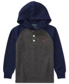 Ralph Lauren Colorblocked Hooded Long-Sleeve T-Shirt, Little Boys (4-7) - -Windsor Heather