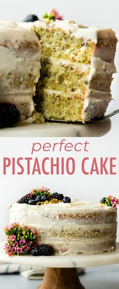 Pistachio cake from scratch with real pistachio and almond extract flavors! Pistachio cake from scratch with real pistachio and almond extract flavors! Nothing fake or artificial in this beautiful 3 layer pistachio cake. Just Desserts, Delicious Desserts, Dessert Recipes, Almond Cake Recipes, Cake Recipes From Scratch, Pistachio Cake Recipe From Scratch, Recipe With Almond Extract, Sallys Baking Addiction, Vegetarian Recipes