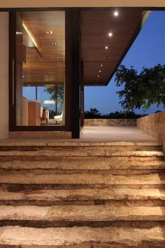 exterior stone stair at contemporary window