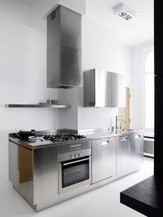 Steel kitchen.