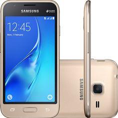 Smartphone Samsung Galaxy J1 Mini Dual Chip Desbloqueado Android 5.1 Tela 4 8GB 3G Wi-Fi Câmera 5MP - Dourado
