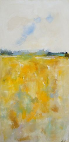 Yellow Landscape Seascape Abstract Original by lindadonohue, $395.00