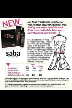 New Saba Wraps!!! Use on waist, thighs, neck, arms-- where ever you want to lose a few inches!! Great to use before a party/wedding/event order today!! http://sabaforlife.com/angelagrachanin