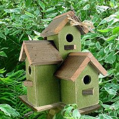 Image detail for -Green Birdhouse Condo   Garden Decor   Made In Oregon