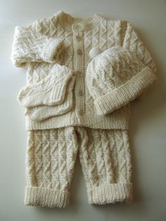 Hand Knitted Baby Set by SasasHandcrafts,