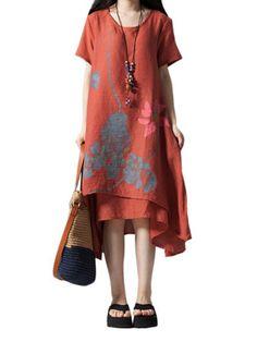 Women Lotus Flower Printing Irregular Hem A-Line Dress