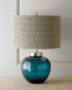Azure Glass Lamp by Regina-Andrew Design at Horchow / Shade is crocheted natural hemp over teal fabric