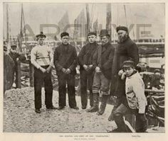 The skipper and crew of the Wildflower. Published by The Illustrated London News, feb 9, 1895.