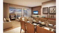 Living do apto de 78 m² (3 dorms)