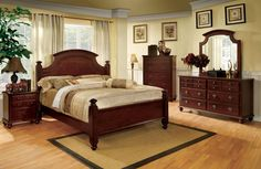 Gabrielle II 4Pcs Queen Bedroom Set CM7083(QueenBed,Night Stand,Dresser,Mirror)Descriptions :Add elegance to your bedroom with the timeless grace and European styling of the Gabrielle group. The gentle curves of the headboard and mirror create gentle visions of relaxation. A silky cherry finish is accented with antique gold knobs.Features :Elegant European StyleSolid Wood, Wood Veneer, OthersCherry FinishDimensions:QueenBed : 88