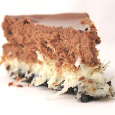 Chocolate Coconut Cheesecake Recipe ~ Chewy layers of coconut covered in dark chocolate cheesecake make this dessert irresistible!