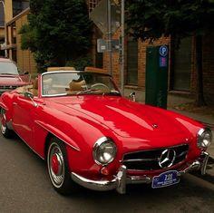 Awesome red Mercedes Benz #190SL. Via: herbertfhall (instagram) / #BruceAdams190SL #190SLRestorations